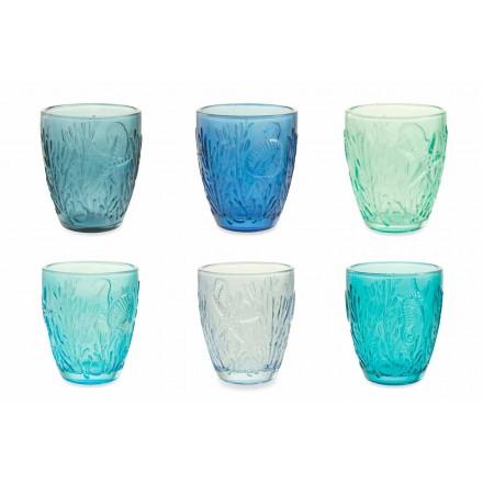 Verre bleu coloré moderne en Verre 12 Pièces Service à eau - Mazara