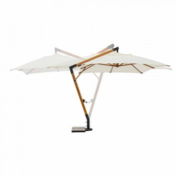 Parapluie d'extérieur Ecrù Color en Polyester et Bois 3x4 Homemotion - Passmore
