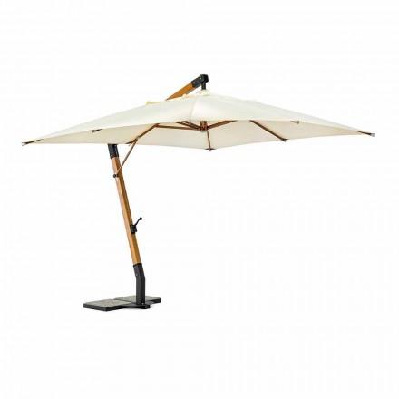 Parapluie d'extérieur en bois et polyester écru 3x4, Homemotion - Passmore