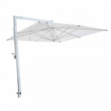 Parasol de jardin en aluminium blanc et tissu Made in Italy - Mervin