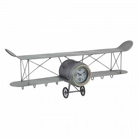 Horloge murale en forme d'avion en acier et verre Homemotion - Plano