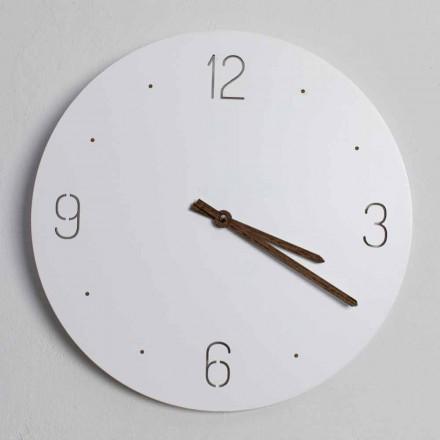 Horloge Murale Design Classique en Bois Rond Blanc Découpé au Laser - Jovial