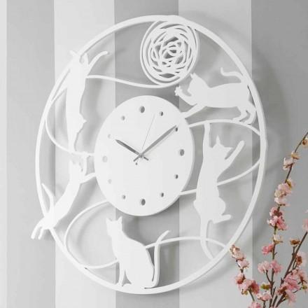 Grande Horloge Murale Décorée De Couleur Ronde Moderne - Chat