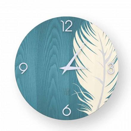 Horloge murale design moderne en bois Pico, produite en Italie