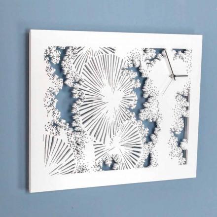 Horloge Murale Design en Bois Blanc ou Colombe Rectangulaire - Artificio
