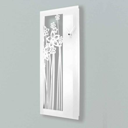 Horloge Murale Design Rectangulaire Moderne en Plexiglas Blanc - Elara