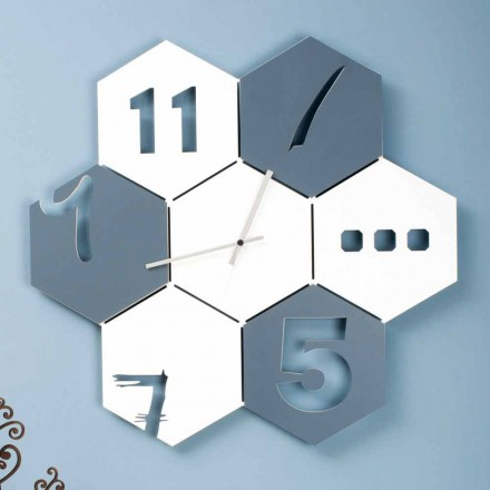 Grande Horloge Murale en Bois Coloré Design Moderne Hexagonal - Nidodape