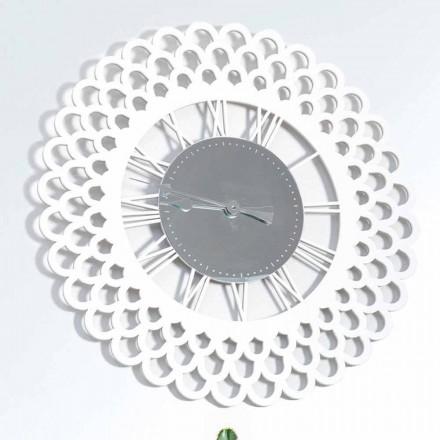 Horloge Murale en Bois Blanc Grand et Design Floral Moderne - Gerbera