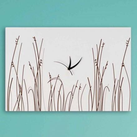 Horloge Murale Rectangulaire Moderne en Bois Blanc - Filigrane