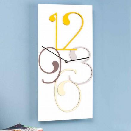 Horloge Murale Design Moderne Rectangulaire en Bois Coloré et Blanc - Mathématiques
