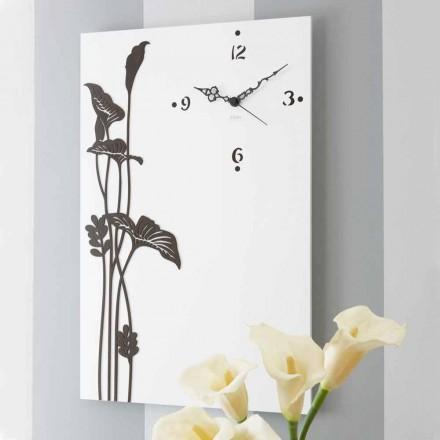 Horloge Murale Rectangulaire Moderne en Bois Design Décoré Blanc - Croco
