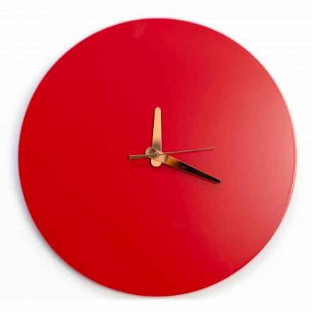 Horloge murale rouge au design italien rond et moderne en bois - Callisto