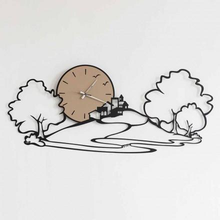 Horloge Murale avec Paysage en Fer Noir ou Boue Fabriquée en Italie - Paesello