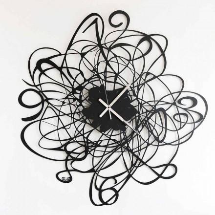Horloge murale design moderne en fer noir ou blanc Made in Italy - Baldo