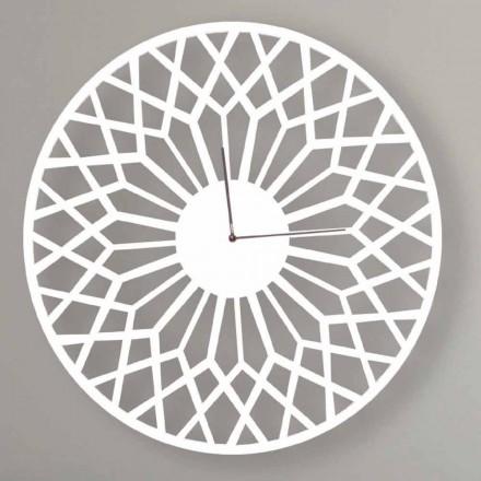 Grande horloge murale design moderne en bois rond coloré - Dandalo