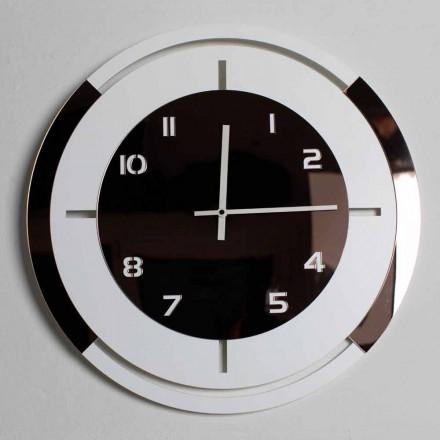 Horloge murale en bois blanc et décorations en bronze de design moderne - Mavia