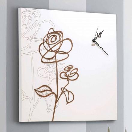 Horloge Murale Carrée Blanche en Bois avec Décoration Rose Moderne - Perce-neige