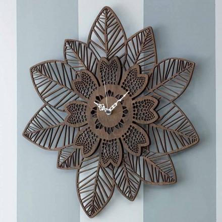 Horloge murale en bois clair ou foncé avec un design fleuri moderne - Aquilegia