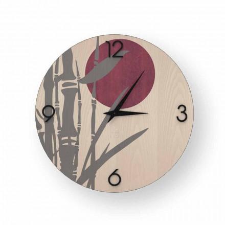 Horloge murale design Atina en bois décorée, produite en Italie
