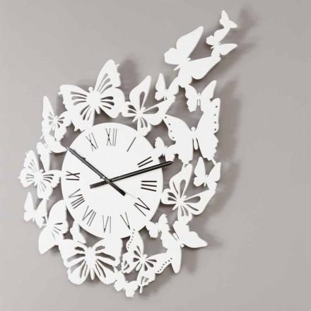 Horloge Murale en Bois Coloré Design Moderne Décorée de Papillons - Papilio