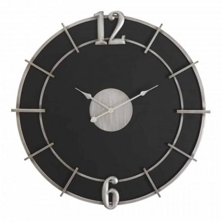 Horloge murale ronde de design moderne en fer et MDF - Hope