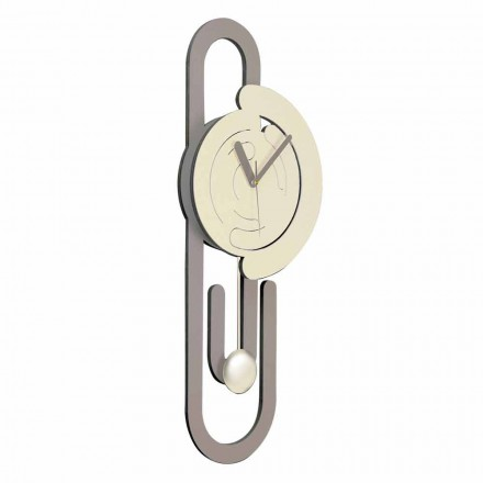 Horloge Murale Pendule Design Moderne en Bois Beige et Marron - Trombone