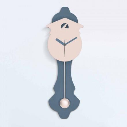 Horloge Pendule Moderne en Bois Design Gris et Rose - Coucou