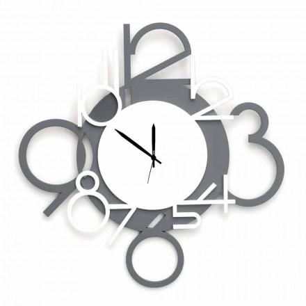 Grande horloge murale design moderne en bois blanc et gris - Chiffre