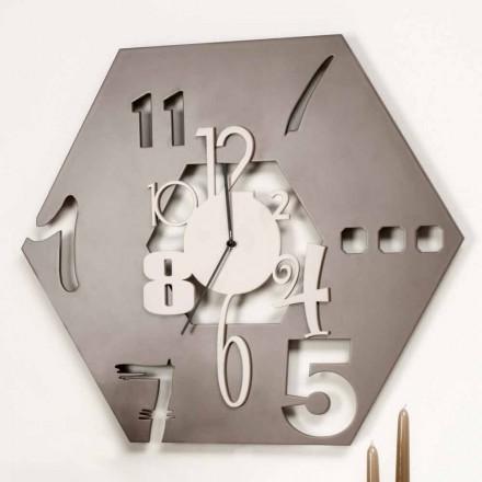 Grande Horloge Murale En Bois Design Hexagonal Moderne - Polyèdre