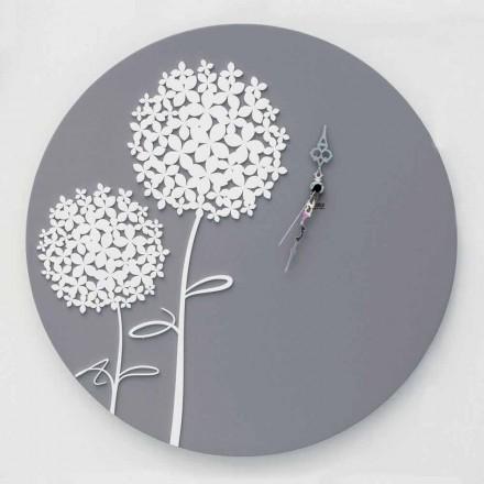 Horloge murale ronde en bois gris décoré de conception moderne - Tête de douche