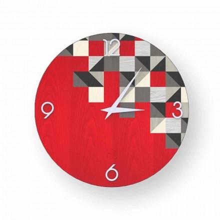 Horloge murale de design moderne en bois, produite en Italie Peia