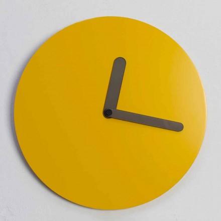 Horloge Murale Moderne en Bois Ocre Design Rond Fabriqué en Italie - Amaltea