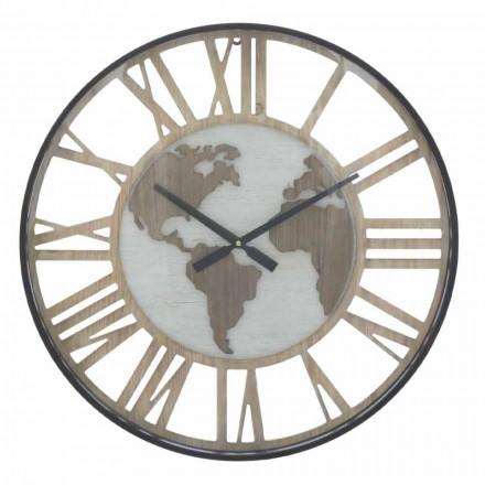 Horloge Murale Ronde Diamètre 60 cm Moderne en Fer et MDF - Arnela