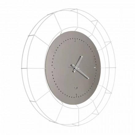 Horloge Murale Miroir Moderne en Acier Blanc Fabriqué en Italie - Adalgiso