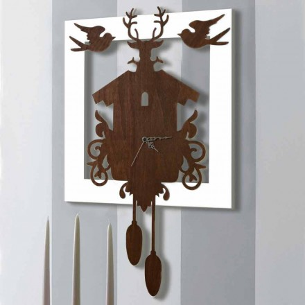 Horloge murale design moderne en bois décoré noir et blanc - Conte de fées