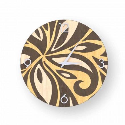 Horloge murale design moderne en bois Zane, produite en Italie