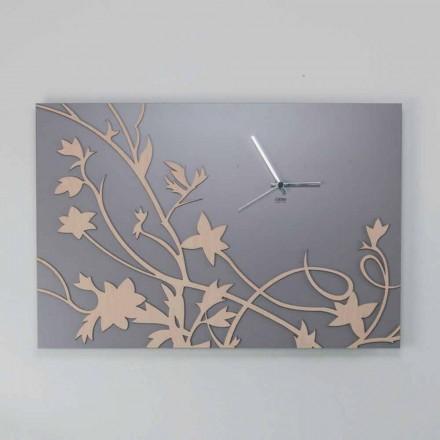 Horloge Murale Design Rectangulaire Gris Moderne en Bois Décoré - Gallium