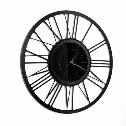 Horloge murale avec miroir en fer, design moderne, fabriquée en Italie - Gioele