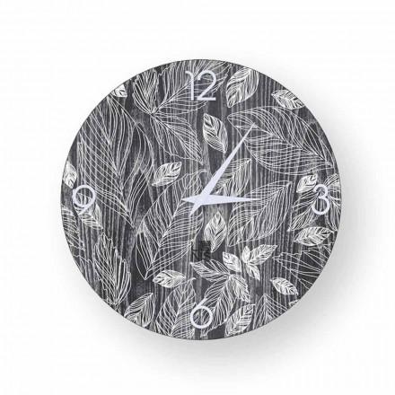 Horloge murale design moderne en bois Veroli, produite en Italie