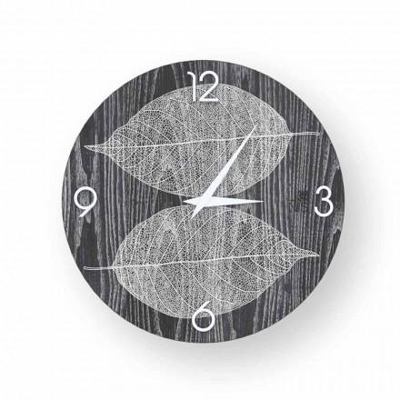 Horloge murale design en bois décoré Arce, produite en Italie