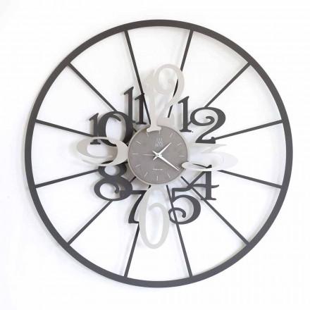 Horloge Murale Moderne Circulaire en Fer Bicolore Fabriquée en Italie - Calipso