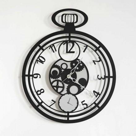 Horloge Murale Circulaire Moderne en Fer Coloré Fabriquée en Italie - Cerise