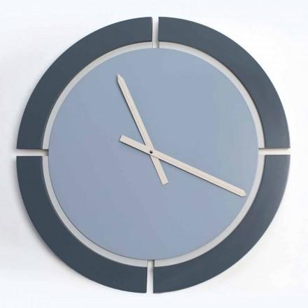 Horloge Murale Ronde Moderne en Blanc Bleu Avio - Savio
