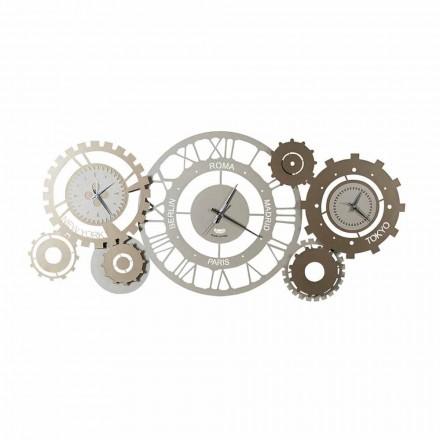 Horloge murale en fer moderne avec trois fusi fabriqués en Italie - Mécanique