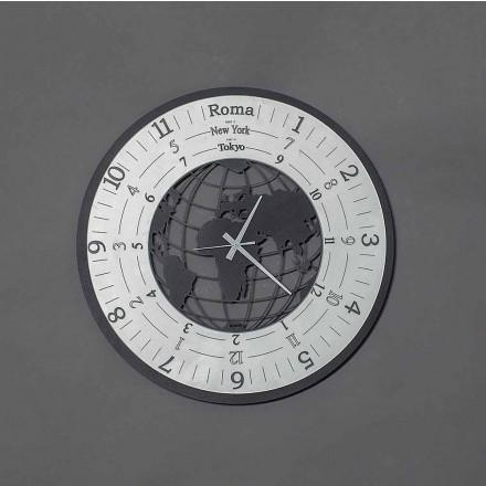 Horloge murale moderne en fer noir ou en ardoise fabriquée en Italie - World