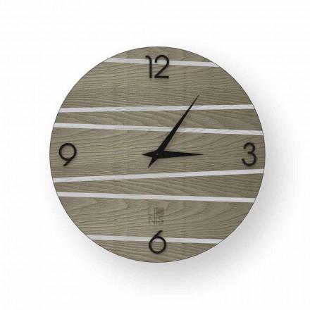 Horloge murale moderne en bois Marzio, produite à 100% en Italie