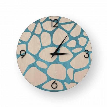 Horloge murale moderne en bois Morolo, produite à 100% en Italie