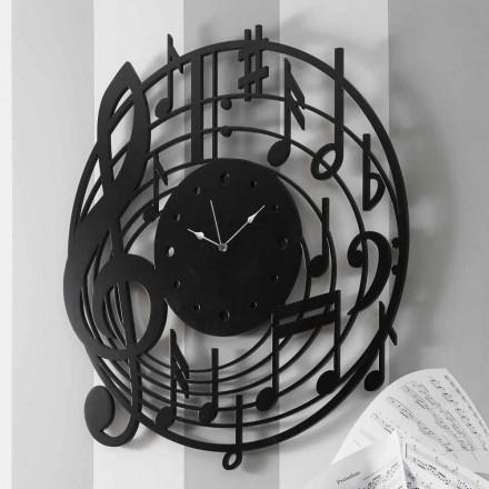Horloge murale noire ronde de design moderne en bois décoré - Musique