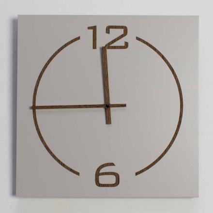 Horloge Murale Design Carré et Moderne en Bois Beige et Marron - Tabata