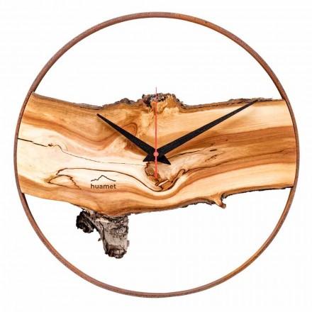 Horloge Murale Ronde en Bois de Pomme Massif Fabriqué en Italie - Sirmione